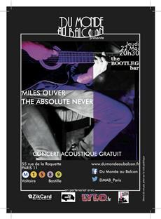 Concert gratuit de Miles Oliver et The Absolute Never à Paris  Concerts